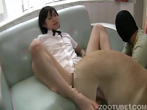 Japanese babe adores bestiality games with huge dogs